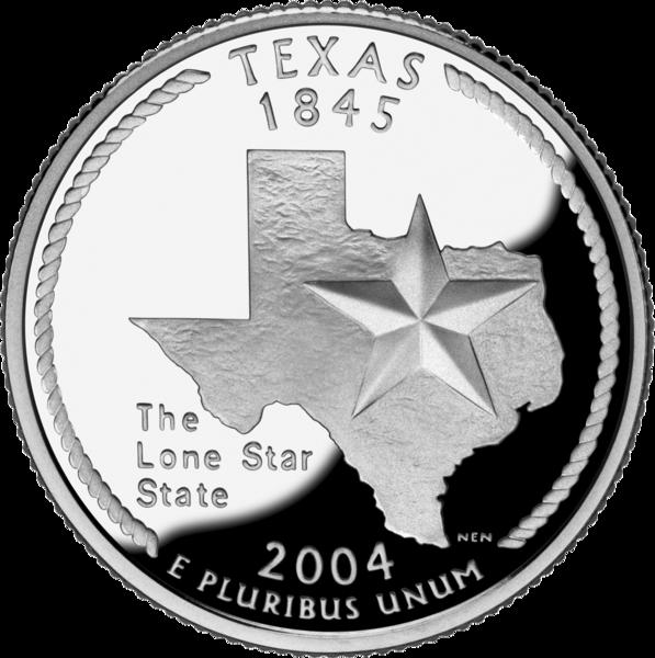 Реверс 25 центов 2004 года. Техас, Соединённые Штаты Америки. Двадцатипят